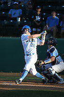 Jake Hirabayashi (28) of the UCLA Bruins bats against the North Carolina Tar Heels at Jackie Robinson Stadium on February 20, 2016 in Los Angeles, California. UCLA defeated North Carolina, 6-5. (Larry Goren/Four Seam Images)
