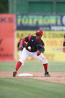 Batavia Muckdogs shortstop Marcos Rivera (8) waits for a throw on a stolen base attempt during a game against the West Virginia Black Bears on June 25, 2017 at Dwyer Stadium in Batavia, New York.  West Virginia defeated Batavia 6-4 in the completion of the game started on June 24th.  (Mike Janes/Four Seam Images)