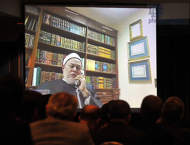 "Grand Mufti of Egypt Shaykh Ali Gomaa speaks via video conference at a discussion and lecture to launch the research initiative ""Contending Modernities"" in New York City...Photo by Matt Cashore/University of Notre Dame"