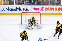 June 6, 2019: Boston Bruins goaltender Tuukka Rask (40) stops the rolling puck during game 5 of the NHL Stanley Cup Finals between the St Louis Blues and the Boston Bruins held at TD Garden, in Boston, Mass. The Blues defeat the Bruins 2-1 in regulation time. Eric Canha/CSM