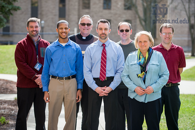 March 7, 2017; Staff retreat planning group, back row (l to r) Jeff Edgerly, Rev. Jim Bracke, C.S.C., Michael Ball, Andrew Yocum.  Front row (l to r) Terron Phillips, Dan Torrey and Dr. Karla Bellinger (Photo by Matt Cashore/University of Notre Dame)
