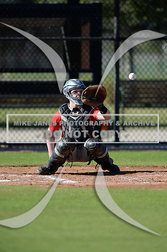 Cameron Petruso (27) of Erie, Pennsylvania participates in the Baseball Factory All-America Pre-Season Rookie Tournament, powered by Under Armour, at Lake Myrtle Sports Complex on January 18, 2014 in Auburndale, Florida.  (Copyright Mike Janes Photography)
