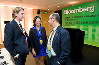 Attendants mingle after Bloomberg Forum 'Green Evolution: China and the Global New Energy Race', at the USA Pavilion, in Shanghai World Expo 2010, China, on October 21, 2010. Photo by Lucas Schifres/Pictobank