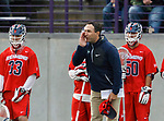 Richmond coach Dan Chemotta gives instruction as UAlbany Men's Lacrosse defeats Richmond 18-9 on May 12 at Casey Stadium in the NCAA tournament first round.