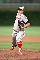Luken Baker (9) of Oak Ridge High School in Spring, Texas during the Under Armour All-American Game on August 16, 2014 at Wrigley Field in Chicago, Illinois.  (Mike Janes/Four Seam Images)