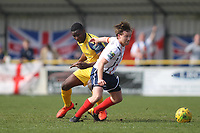 John Watson of Witham and Olunde Oluwatiimilehin of Hornchurch during Witham Town vs AFC Hornchurch, Bostik League Division 1 North Football at Spa Road on 14th April 2018