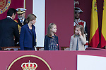 Princess Sofia of Spain, Princess Leonor of Spain and Queen Letizia of Spain during Spanish National Day military parade in Madrid, Spain. October 12, 2015. (ALTERPHOTOS/Victor Blanco)