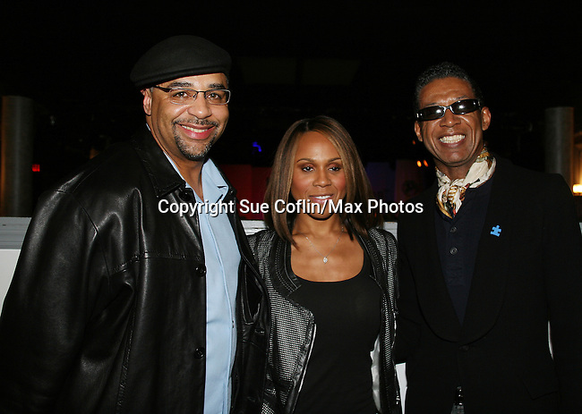 Guests -  Broadcaster Ed Gordon and Fashion Designer B Michael pose with singer Deborah Cox - Opening night of Layon Gray's Black Angels Over Tuskegee on February 15, 2010 at St. Luke's Theatre, New York City, New York. Starring in the play is Lamman Rucker (ATWT & AMC & Tyler Perry movies) (Photo by Sue Coflin/Max Photos)