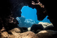 The view from an underwater cave at Shark's Cove, North Shore, O'ahu.
