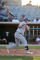 Billy McKinney #7 of the Stockton Ports bats against the Lancaster JetHawks at The Hanger on June 24, 2014 in Lancaster, California. Stockton defeated Lancaster, 6-4. (Larry Goren/Four Seam Images)