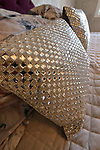 """Swarovski crystals adorn the pillows on the bed in the master bedroom. Lowery was having tea in the Central West End when she saw and bought them at a shop there. """"At Home"""" with Margaret Lowery in her Lake Christine Drive home in Belleville, IL on July 24, 2019. <br /> Photo by Tim Vizer"""