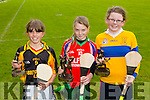 Caoimhe Spillane, Abbeydorney , 3rd , Amy O'Sullivan, Kilflynn, 1st, Sarah Lawlow, Ardfert, 2nd Pictured at the Coiste Na Nóg Primary Schools hurling Skills finals at Austin Stack Park Tralee on Tuesday