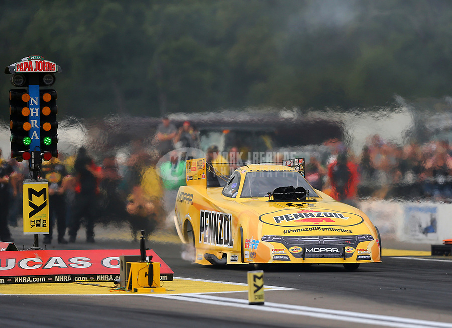 Aug 18, 2017; Brainerd, MN, USA; NHRA funny car driver Matt Hagan during qualifying for the Lucas Oil Nationals at Brainerd International Raceway. Mandatory Credit: Mark J. Rebilas-USA TODAY Sports