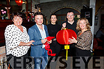 Enjoying the Chinese New Year celebrations atmosphere in the Station House in Blennerville on Saturday. L-r, Judy Doyle, Rafal Nabarala, Rebecca, Chris and Collette Short.