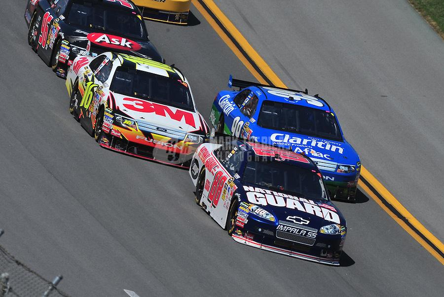 Apr 26, 2009; Talladega, AL, USA; NASCAR Sprint Cup Series driver Dale Earnhardt Jr (88) leads Greg Biffle (16) and Carl Edwards (99) during the Aarons 499 at Talladega Superspeedway. Mandatory Credit: Mark J. Rebilas-
