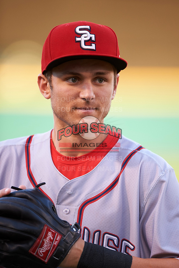 Syracuse Chiefs center fielder Trea Turner (7) warms up before a game against the Rochester Red Wings on July 1, 2016 at Frontier Field in Rochester, New York.  Rochester defeated Syracuse 5-3.  (Mike Janes/Four Seam Images)