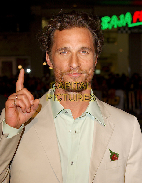 "MATTHEW McCONAUGHEY.Attends Paramount Pictures' Los Angeles Premiere of ""Sahara"" held at The Grauman's Chinese Theatre in Hollywood, Los Angeles, California, USA,.April 4th 2005..portrait headshot beard stubble facial hair pointing finger gesture.Ref: DVS.www.capitalpictures.com.sales@capitalpictures.com.©Debbie VanStory/Capital Pictures"