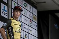 podium with race winner Dylan Groenewegen (NED/Lotto NL - Jumbo).  <br /> <br /> 103th Kampioenschap van Vlaanderen 2018 (UCI 1.1)<br /> Koolskamp &ndash; Koolskamp (186km)