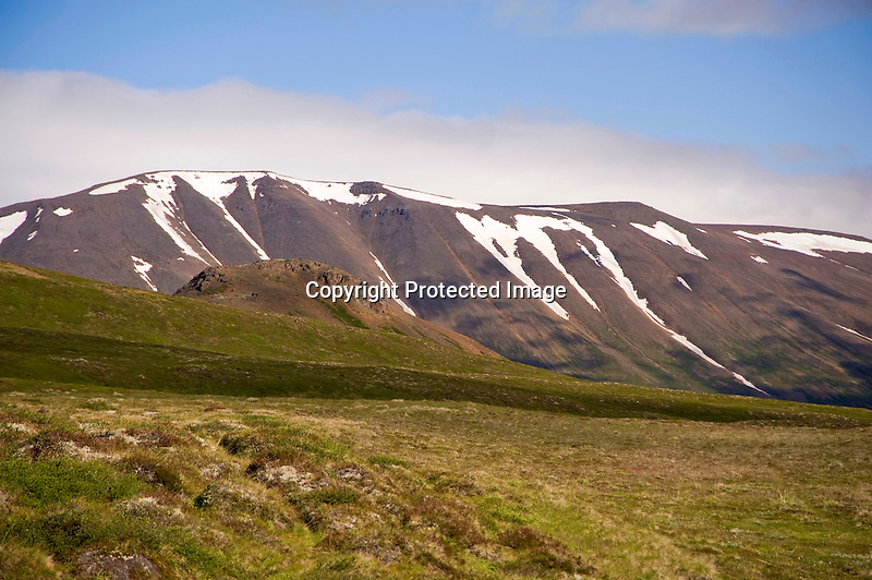 View of Mountains and Glaciers in Mountain Pass near Akureyri in North Iceland