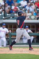 Ryan Howard (8) of the US Collegiate National Team follows through on his swing against the Cuban National Team at BB&T BallPark on July 4, 2015 in Charlotte, North Carolina.  The United State Collegiate National Team defeated the Cuban National Team 11-1.  (Brian Westerholt/Four Seam Images)