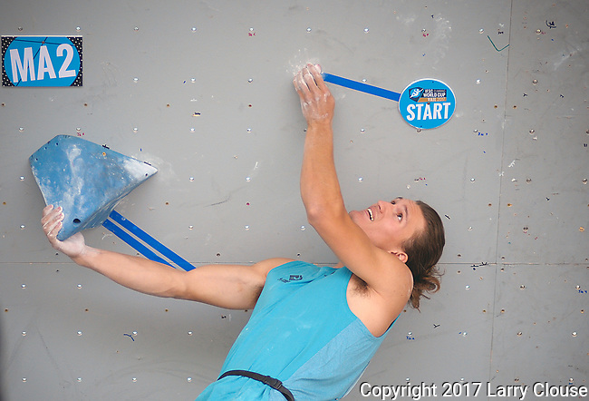 June 9, 2017 - Vail, Colorado, U.S. - USA's, Nathaniel Coleman #17, works through the beginning of his second climbing problem in the IFSC Climbing World Cup during the GoPro Mountain Games, Vail, Colorado.  Adventure athletes from around the world meet in Vail, Colorado, June 8-11, for America's largest celebration of mountain sports, music, and lifestyle.