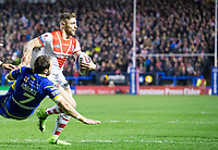 Picture by Allan McKenzie/SWpix.com - 09/03/2018 - Rugby League - Betfred Super League - Warrington Wolves v St Helens - Halliwell Jones Stadium, Warrington, England - Tommy Makinson.