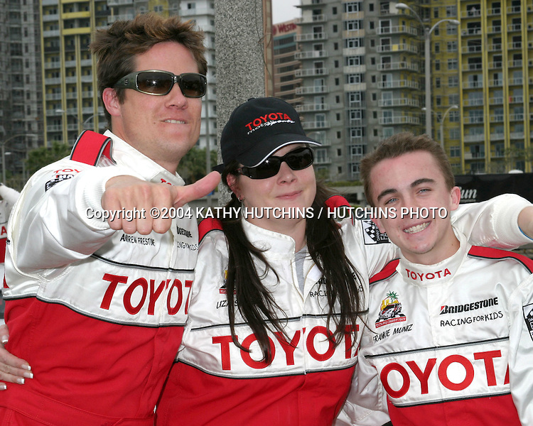 ©2004 KATHY HUTCHINS / HUTCHINS PHOTO.TOYOTA GRAND PRIX CELEBRITY RACE PRESS DAY.LONG BEACH, CA.APRIL 6, 2004..ANDREW FIRESTONE.LIZA SNYDER.FRANKIE MUNIZ.