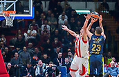 22nd March 2018, Aleksandar Nikolic Hall, Belgrade, Serbia; Turkish Airlines Euroleague Basketball, Crvena Zvezda mts Belgrade versus Fenerbahce Dogus Istanbul; Center Alan Omic of Crvena Zvezda mts Belgrade tries to block Guard Marko Guduric of Fenerbahce Dogus Istanbul while he shoots for three points
