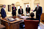 Washington, DC - June 9, 2009 -- United States President Barack Obama meets with advisors in the Oval Office prior to a briefing on the Pay-As-You-Go (PAYGO) system, June 9, 2009.  From left: White House Chief of Staff Rahm Emanuel, Director of the Office of Management and Budget Peter Orszag, Deputy Director of Legislative Affairs Dan Turton, Deputy Director of the Office of Management and Budget Rob Nabors, and Assistant to the President for Legislative Affairs Phil Schiliro. .Mandatory Credit: Pete Souza - White House via CNP