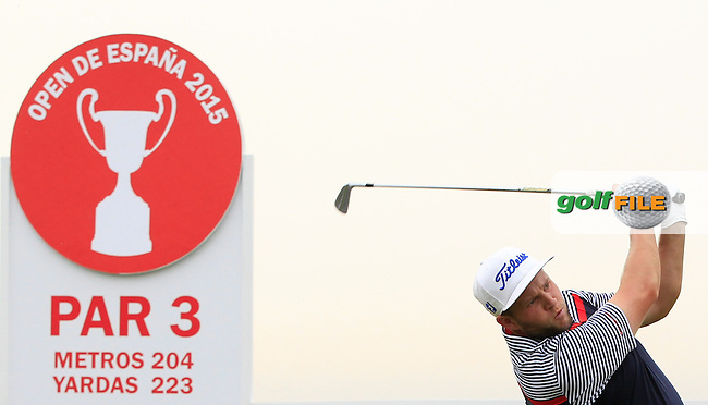 Andrew Johnston (ENG) on the 13th tee during Round 1 of the Open de Espana  in Club de Golf el Prat, Barcelona on Thursday 14th May 2015.<br /> Picture:  Thos Caffrey / www.golffile.ie