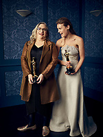 Oscar® winners Carol Dysinger and Elena Andreicheva during the 92nd Oscars® on Sunday, February 9, 2020 at the Dolby Theatre® in Hollywood, CA, televised live by the ABC Television Network.<br /> *Editorial Use Only*<br /> CAP/AMPAS<br /> Supplied by Capital Pictures