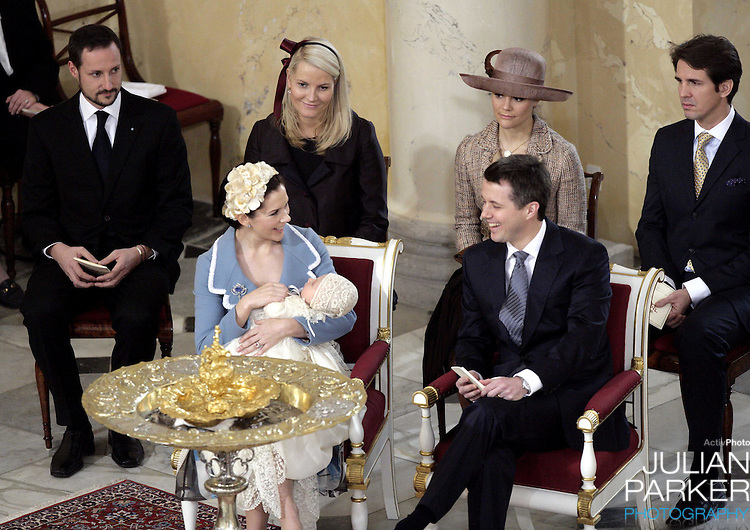Crown Prince Haakon & Crown Princess Mette-Marit of Norway, Crown Princess Victoria of Sweden and Crown Prince Pavlos of Greece attend the Christening of Crown Prince Frederik & Crown Princess Mary of Denmark's son Christian Valdemar Henri John at the Palace Chapel, Christiansborg Palace, followed by a reception in the Great Hall..