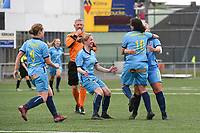 20190427 - Waregem , BELGIUM :  players of FWD Merkem celebrating their openinggoal pictured during the final of the Beker van West-Vlaanderen 2019 , a soccer women game between SV Bredene and Famkes Westhoek Diksmuide Merkem B  , in the  Mirakelstadion in Waregem , Satuday 27 th April 2019 . PHOTO SPORTPIX.BE | DIRK VUYLSTEKE