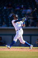 Mesa Solar Sox Eloy Jimenez (27), of the Chicago Cubs organization, hits a home run during a game against the Surprise Saguaros on October 14, 2016 at Sloan Park in Mesa, Arizona.  Mesa defeated Surprise 10-4.  (Mike Janes/Four Seam Images)