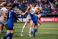 Seattle, WA - Sunday, August 13, 2017: Samantha Mewis during a regular season National Women's Soccer League (NWSL) match between the Seattle Reign FC and the North Carolina Courage at Memorial Stadium.