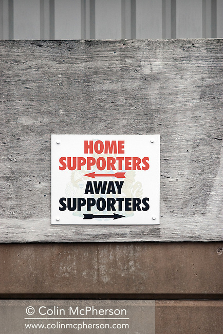 A sign for supporters outside Altrincham's Moss Lane ground pictured before the club's the FA Cup first round tie with Millwall. The League One visitors won by two goals to one against their opponents from the Conference. Altrincham were previously one of England's leading non-League teams, and regularly beat League opposition in the FA Cup.