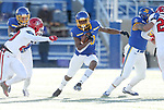 BROOKINGS, SD - NOVEMBER 17: Pierre Strong, Jr. #20 from South Dakota State University breaks through the line against the University of South Dakota during their game Saturday afternoon at Dana J. Dykhouse Stadium in Brookings, SD. (Photo by Dave Eggen/Inertia)