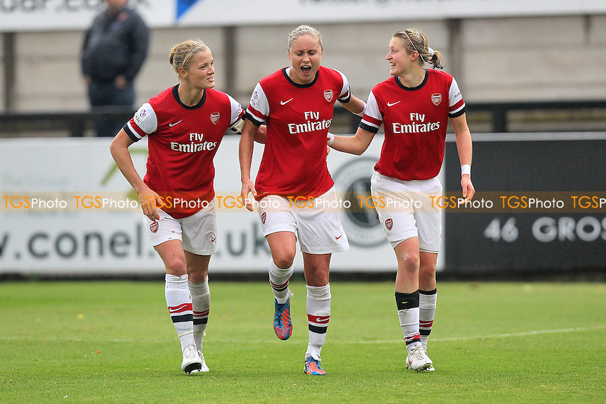 Ellen White (R) scores the third goal for Arsenal and celebrates with Steph Houghton (C) and Katie Chapman - Arsenal Ladies vs Liverpool Ladies - FA Womens Super League Football at Boreham Wood FC - 23/09/12 - MANDATORY CREDIT: Gavin Ellis/TGSPHOTO - Self billing applies where appropriate - 0845 094 6026 - contact@tgsphoto.co.uk - NO UNPAID USE.