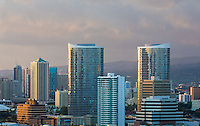Downtown Honolulu in evening light.<br /> <br /> Canon EOS 5D, 70-200 f/2.8 L lens