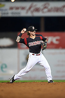 Batavia Muckdogs second baseman Taylor Munden (21) throws to first during the second game of a doubleheader against the Vermont Lake Monsters August 11, 2015 at Dwyer Stadium in Batavia, New York.  Batavia defeated Vermont 1-0.  (Mike Janes/Four Seam Images)