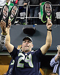 Seattle Seahawks  fan displays a Richard Sherman fan during a game  against the San Francisco 49ers at CenturyLink Field in Seattle, Washington on September 15, 2013. The Seahawks beat the 49ers 29-3. ©2013. Jim Bryant Photo. ALL RIGHTS RESERVED.