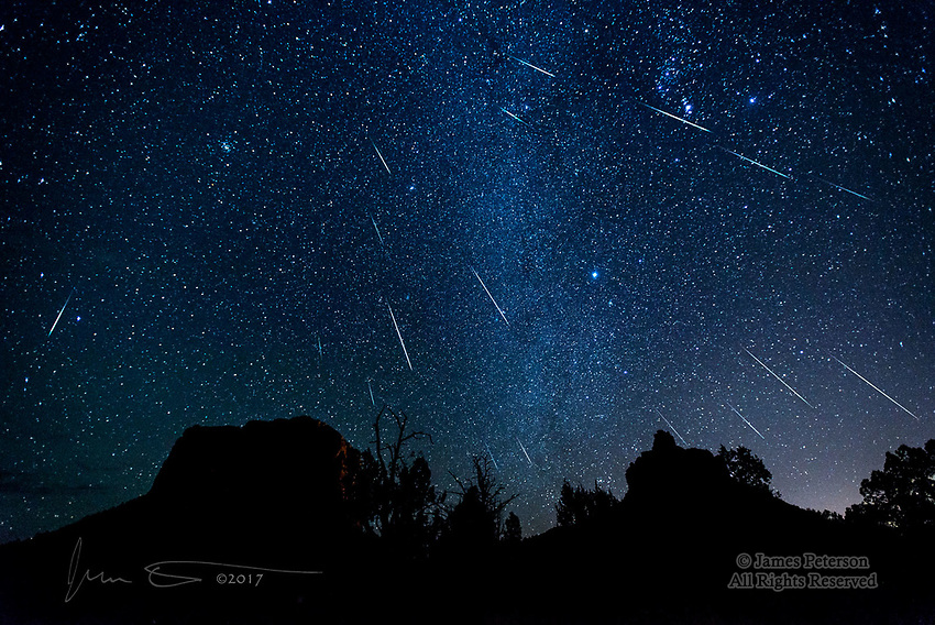 Geminid Meteor Shower, December 2017 ©2017 James D Peterson.  They predicted that this meteor shower would be good this year, and it seems they knew what they were talking about.  This was the view from the Courthouse Vista trailhead near Sedona, Arizona, in the Coconino National Forest (not far from where I live).  I captured these 18 meteors in about 1.5 hours, starting about 11:15PM on Dec. 13.  (I saw many others that were outside the field of view of my lens - they appeared all over the sky.)  I've been trying for years to capture enough of a meteor shower to make a good composite photo, and everything finally came together this time.  In the foreground, Courthouse Butte is on the left and Bell Rock is on the right.