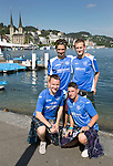 FC Luzern v St Johnstone...16.07.14  Europa League 2nd Round Qualifier<br /> Saints fans in the beautiful city of Luzern, pictured standing left to right, Ruari Kaylor and Sam Rush and kneeling Alan Brown and Ross Kaylor.<br /> Picture by Graeme Hart.<br /> Copyright Perthshire Picture Agency<br /> Tel: 01738 623350  Mobile: 07990 594431