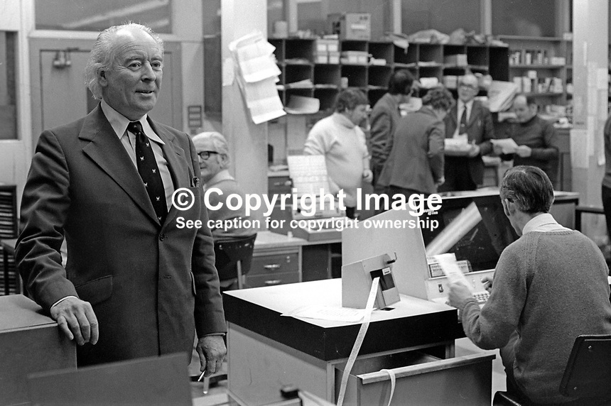 Ken Withers, editor, Newsletter, Belfast, N Ireland, UK. Newsletter, previously the Belfast Newsletter, is an Ulster Unionist supporting morning newspaper. 30th March 1975. Mr Withers is pictured in the newsroom. 197503300371c<br /> <br /> Copyright Image from Victor Patterson, 54 Dorchester Park, Belfast, UK, BT9 6RJ<br /> <br /> Tel: +44 28 9066 1296<br /> Mob: +44 7802 353836<br /> Voicemail +44 20 8816 7153<br /> Email: victorpatterson@me.com<br /> Email: victorpatterson@gmail.com<br /> <br /> IMPORTANT: My Terms and Conditions of Business are at www.victorpatterson.com