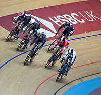 25th January 2020; National Cycling Centre, Manchester, Lancashire, England; HSBC British Cycling Track Championships; Emma Finucane (Top left) comes around the top of the field to win the first semi final of the female keirin
