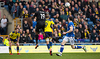 Goalkeeper Johnny Placide of Oldham Athletic collides with Wes Thomas of Oxford United leaving the Oxford players injured on full time during the Sky Bet League 1 match between Oxford United and Oldham Athletic at the Kassam Stadium, Oxford, England on 7 April 2018. Photo by Andy Rowland.