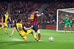 UEFA Champions League 2013/2014.<br /> Quarter-finals 1st leg.<br /> FC Barcelona vs Club Atletico de Madrid: 1-1.<br /> Koke vs Lionel Messi.