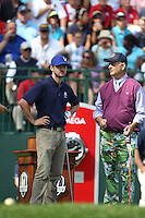 Singer Justin Timberlake, Actor Bill Murray on the 1st  during the Captain/Celebrity scramble exhibition at the Ryder Cup 2012, Medinah Country Club,Medinah, Illinois,USA.Picture: Fran Caffrey/www.Golffile.ie.