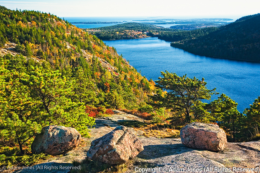 Autumn view of Jordan Pond from atop the Bubbles, Acadia National Park, Maine