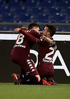 Calcio, Serie A: Roma, stadio Olimpico, 11 dicembre 2017.<br /> Torino's Alejandro Berenguer (r) celebrates after scoring with his teammate Daniele Baselli (l) during the Italian Serie A football match between Lazio and Torino at Rome's Olympic stadium, December 11, 2017.<br /> UPDATE IMAGES PRESS/Isabella Bonotto